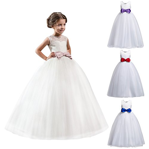 Flower Girls Lace Tulle Wedding Bridesmaid First Communion Evening Party Bowknot Dress Floor Length Embroidered Formal Pageant Birthday Prom Dance Ball Gown Long Maxi Tutu Dresses For Kids 5-15 Years