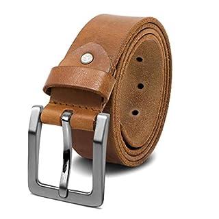 ROYALZ Antik Vintage Ledergürtel für Herren Büffel-Leder aus robusten 4mm Voll-Leder Jeans-Herren-Gürtel mit Dornenschließe 38mm, Größe:135, Farbe:Braun - Schnalle gebürstet