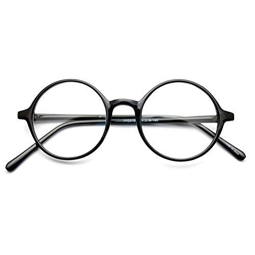 1920s Nerd Brille filigran rund Glasses Klarglas Hornbrille treber 19R0 Black