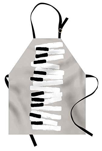 Klavier Schürze, Doodle-Stil Tastatur Muster abstrakt zeitgenössisches Design Klassische Musik, Unisex Küche Latzschürze mit verstellbarem Hals zum Kochen Backen Gartenarbeit, schwarz weiß hellgrau