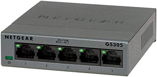 Netgear GS305 Switch Ethernet 5 porte Gigabit, Switch Unmanaged desktop, struttura in metallo senza ventole