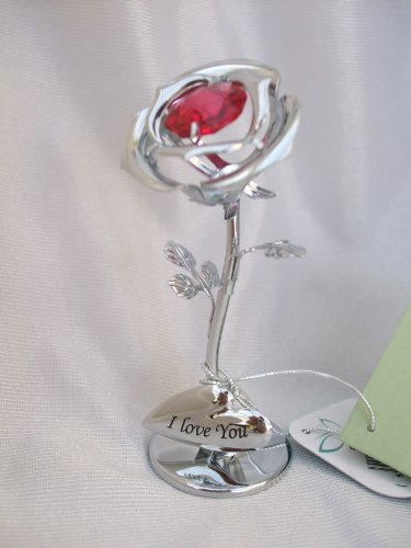 Crystocraft - Figura de rosa, diseño con texto 'I love you'