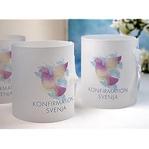 Set 8 x personalisierte Lichthülle für Tischlicht Taube Aquarell zur Kommunion, Konfirmation, Taufe, Firmung, Jugendweihe