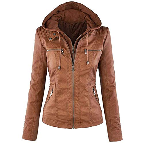 Newbestyle Femme à Capuche Veste en Cuir Manches Longues Courte Blousons Fermeture éclair Moto Style Manteau