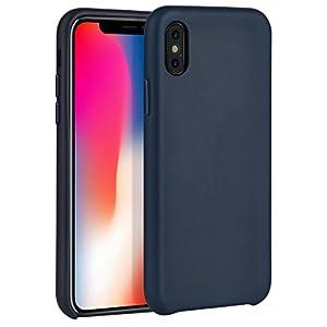 Cover iPhone X,Cover iPhone 10, HOCO Custodia iPhone X protettiva in cuoio genuino sottile per Apple iPhoneX (Blu)
