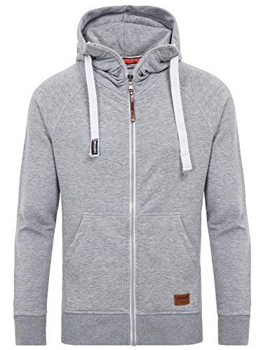 Yazubi Herren Kapuzensweatjacke Jacob - graue Sweatjacke Herren Kapuzenpullover mit Reißverschluss - Kapuzensweatshirt, Grau (Mirage Gray 154703), L -