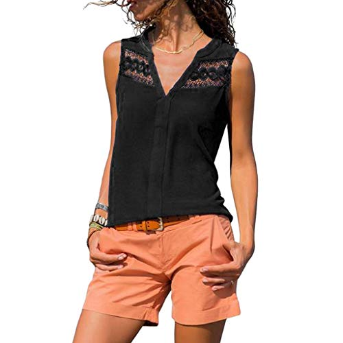 Overdose Sommer Oberteile Frauen Ärmellos Lace Aushöhlen V-Ausschnitt Einfarbig Damen Mode Causal Blusen Tunika Tops T-Shirt