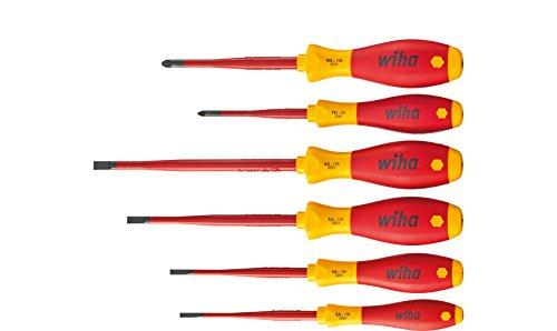 Wiha Schraubendreher Set SoftFinish® electric slimFix Schlitz, Pozidriv 6-tlg. (36455) für tiefliegende Schrauben, ergonomischer Griff für kraftvolles Drehen, Allrounder für Elektriker, VDE-geprüft, stückgeprüft