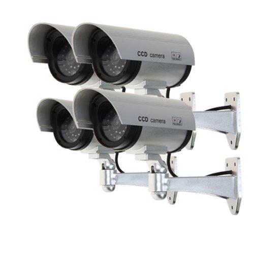 Set di 4 videocamere di sorveglianza finte con led rosso da esterno - colore argentoo