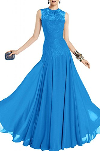 Toscane mariée col rond chiffon tendance-abendkleider les demoiselles d'honneur party promkleider abendmode Bleu - Bleu foncé