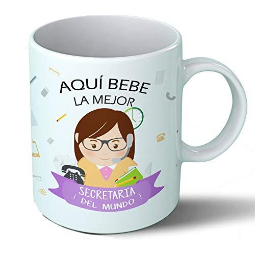Taza Desayuno Aquí Bebe la Mejor Secretaria del Mundo Regalo Original Secretaria Ceramica 330 mL