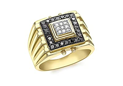 9ct Yellow Gold Gents Black and White Diamond Ring