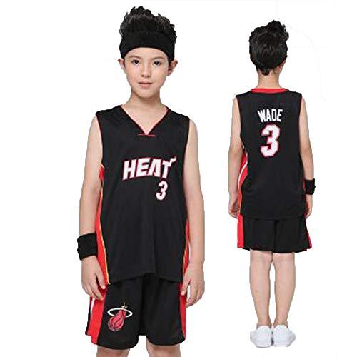 FRQQ Miami Heat Wade No. 3 Trikot, Basketball-Sweatshirt, Sport-Basketball-Uniform, geeignet for Jungen und Mädchen (Size : XXL) - Xxl-uniform-kleidung