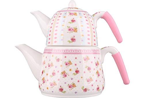 eekessel | Rosa & Weiß | Aus Porzellan | 2,6 Liter | Mit Deckel | Türkischer Tee | Schwarztee ()