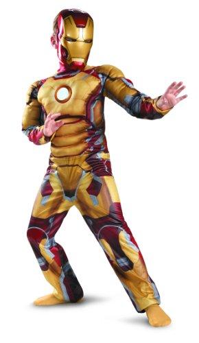 Iron Man 3 Deluxe Muskel Kinder Jungen Halloween Fasching Karneval Kostüm Large 140-152