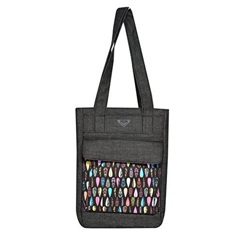"""Roxy - Borsa della spesa, con scomparto per tablet da 10"""", motivo: piume, colore: nero"""