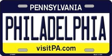 Smart Blonde LP-6047 Philadelphia Pennsylvania State Background Novelty Metal License Plate