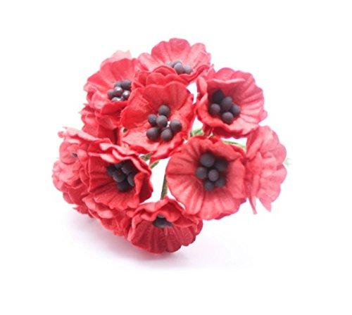 Rote Karte in 50 Mulberry Paper Mohn Blume Hochzeit Craft 2 cm.