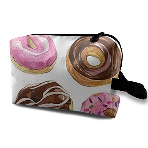 Chocolate Jelly Beans Donuts Toiletry Bag Waterproof Fabric Cosmetic Bags Travel Case for Women's Accessories -