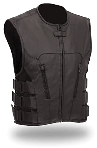 The Nekid Cow Men's Updated SWAT Team Leather Motorcycle Vest Soft Buffalo Leather(Black, Large) -GUARANTEED (Swat Team Abbigliamento)