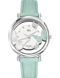 Go Girl Only Damen-Armbanduhr 698647–Quarz–Analog Zifferblatt Silber Armband Leder grün