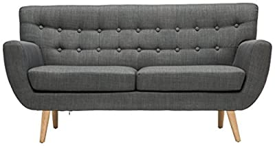 Birlea Loft 2-Seater Sofa, Fabric, Grey Snuggler