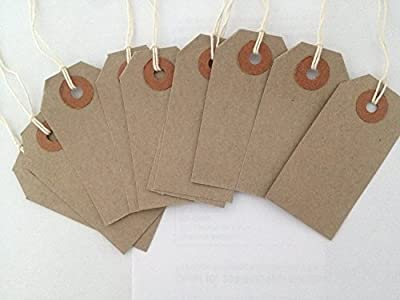 50 Small Brown/Buff (Manilla) Strung 70x35mm Tag/Tie On Luggage Labels from Q CONNECT