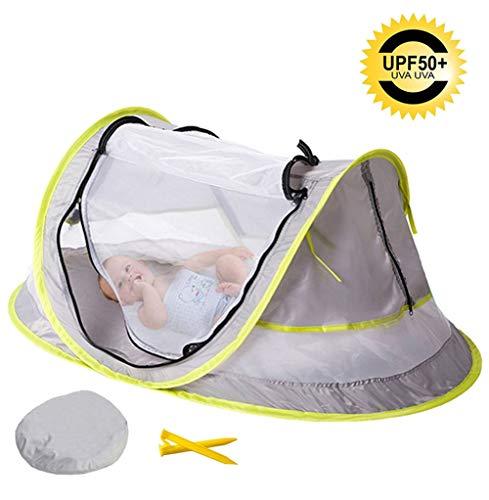 OUTEC Strandzelt UV50 + Faltbares Moskitonetz für Kinder Baby Mehrzweck-Moskitonetz Baby-Rollbett, 108 * 51 * 65cm
