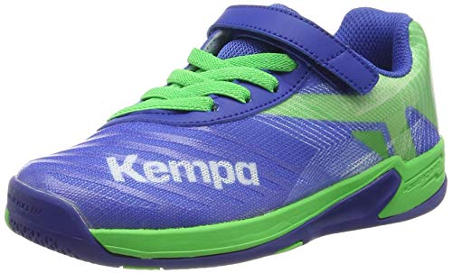 Kempa Unisex-Kinder Wing 2.0 JUNIOR Handballschuhe, Mehrfarbig (Azurblau/Spring Grün 01), 36 EU - Kinder-volleyball-schuhe
