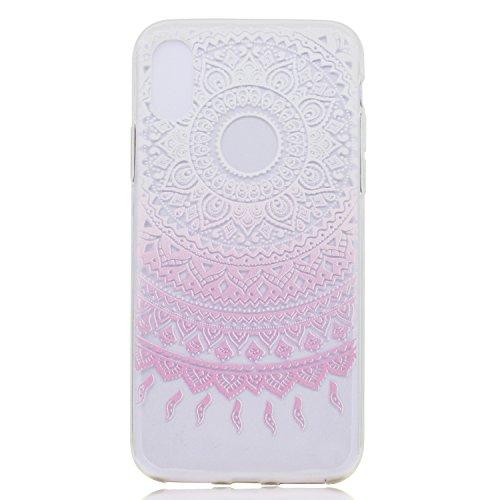 Per iPhone X,Sunrive Custodia Cover Case in molle Trasparente Ultra Sottile TPU silicone Morbida Flessibile Pelle Antigraffio protettiva(piuma) mulino a vento