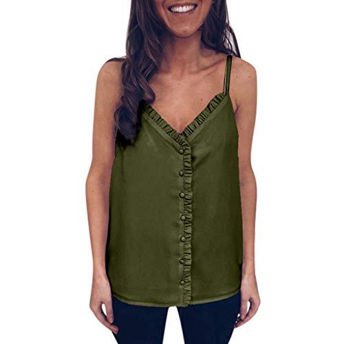 CUTUDE Damen T Shirt, Bluse Kurzarm Sommer Frauen Sexy Mode V-Ausschnitt Sling Trägerlosen Rückenfreie Taste Volltonfarbe Top (Grün, Medium)