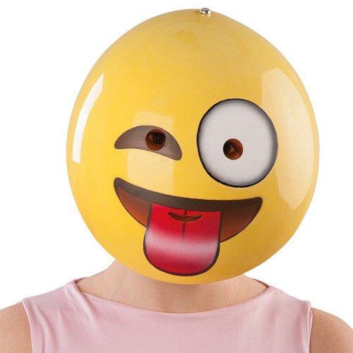 Generique - Freche Smiley-Maske für Erwachsene gelb-rot-Weiss