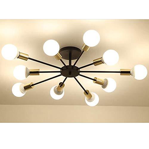 HDWY Nordic Deckenleuchte Kronleuchter Lampe, Semi Flush Deckenleuchte Unterputz Nickel für Wohnzimmer Schlafzimmer Esszimmer Balkon Restaurant Shop Bar,Black,A -
