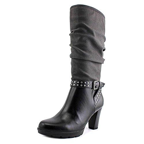 American Living Kandace Damen Rund Kunstleder Mode-Knie hoch Stiefel Blk/Blk