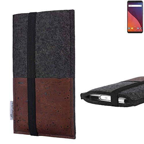 flat.design Handy Hülle Sintra für Wiko View 32 GB Handytasche Filz Tasche Schutz Kartenfach Case braun Kork