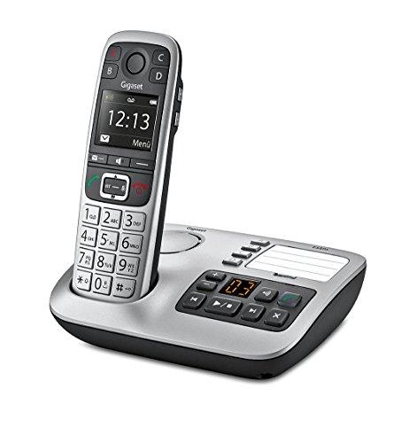 Gigaset E560A PLUS Schnurlostelefon + Freisprech-Clip mit SOS-Funktion - Hausnotruf - Anrufbeantworter / Grosse Tasten Telefon - platin - 12