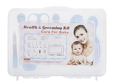 Babypflege-Set mit Etui 9-teiliges Set für Babys, Baby Nagelscheren, Nasensauger, Digital-Thermometer, Weiche Bürste und Kamm, Nagelschneider, Pipette, Saubere Pinzette,