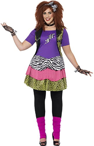 Plus Size 80s Fancy Dress Costume for Women. UK sizes 16 to 30 available.