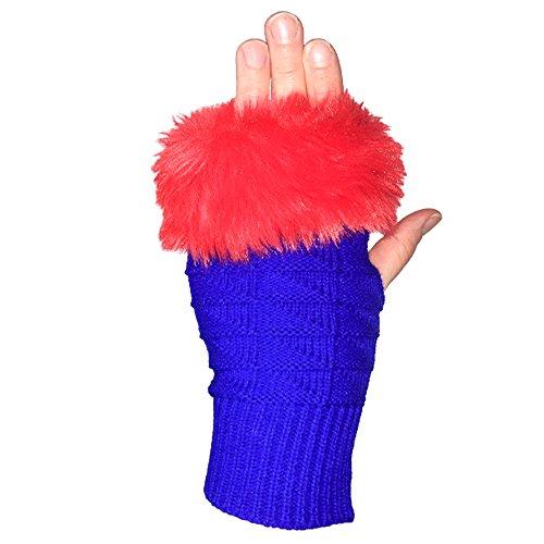 Royal Blue Fan (Sports Novelties Fuzzy Fan Fingerlose Handschuhe, Royal Blue and Red)