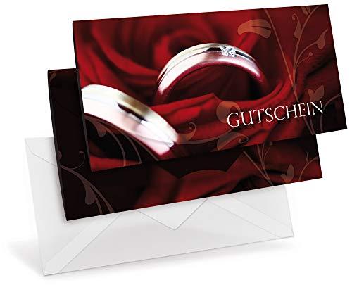 Gutscheinkarten (10 Stück) mit transparenten Briefumschlägen - Geschenkgutscheine für Schmuck, Juwelier, Einzelhandel, Hochzeit, Trau-Ringe - DIN lang Faltkarte verschließbar