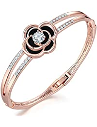 Jewels Galaxy Rose Gold Plated Brilliant Charm Bracelet for Women/Girls