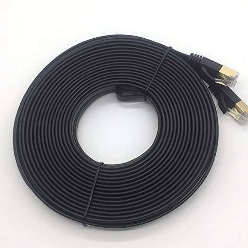 10m CAT7 Ethernet Kabelstecker Ethernet Internet Netzwerkkabel Patchkabel Flache Designleitung Schwarz - schwarz
