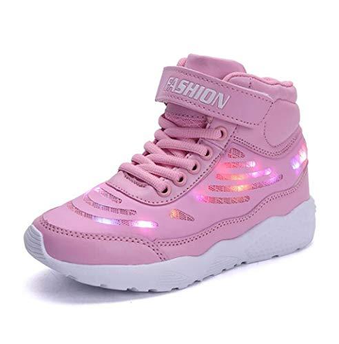 ZJEXJJ Schuhe Kinder Jungen Mädchen USB Lade Low Top Sneakers Blinkende Schuhe Kleinkind Freizeitschuhe Weihnachten Halloween (Farbe : Rosa, größe : 25)