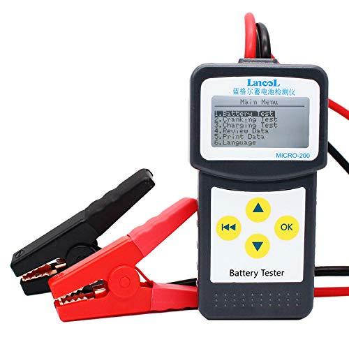 Etrogo Tester per Batteria Auto, 12V 100-2000 CCA Analizzatore di Avviamento, Tester di Carica e Test della Batteria per Veicolo/Barca/Moto