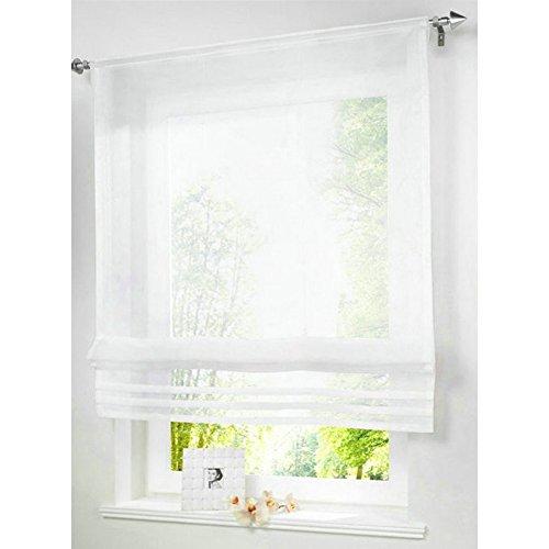 KOU-DECO Raffrollo Tunnelzug Gardinen Voile Transparent Polyester 1er-Pack Vorhang (B*H 120*155cm, weiß)
