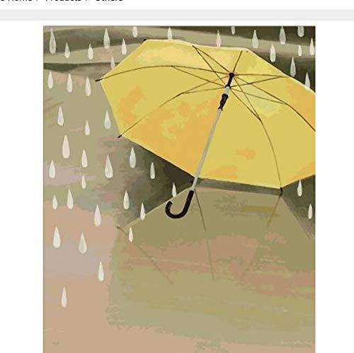 OKOUNOKO Puzzle De 1000 Piezas para Adultos 3D Gotas De Lluvia Y Paraguas Amarillo En Una Imagen De Estilo Pintada A Mano para La Decoración Montaje Personalizado De Madera Jigsaw Puzzles Divertido