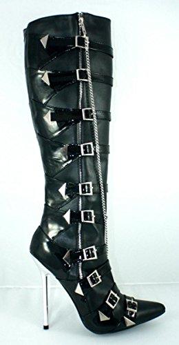 EROGANCE & simili cuir verni bottes hautes bottes talons hauts noir eU/a3293 36–46 Noir - Noir