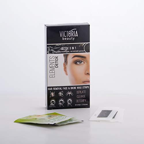 Victoria Beauty - Detox Wachssteifen mit Aktivkohle für Gesicht und Bikini, 3 in 1 Wachs Haarentfernung, Enthaarungswachs, 20 Stk.
