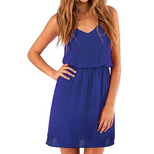 SUNNOW Elegant Damen Sommerkleid Minikleid Casual doppel Schulterriemen Chiffon Rock Partykleid Cocktailkleid EU 40 ,XL  Gem blau (Blau Sommer Für Frauen Kleider)