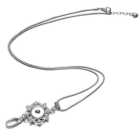 Soleebee Klassische Handgemachte Perlen ID-Kartenhalter Lanyards Halskette mit Strass Click-Button Verschluss Anhänger Passend Schlüssel, ID Abzeichenhalter (Silberne Blume)